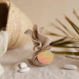 aumônière de dragées sable étiquette ronde sunset cadeau personnalisé mariage
