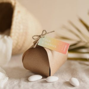 boite dragées kraft étiquette rectangle sunset cadeau personnalisé mariage
