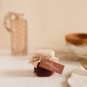 pot de confiture nude étiquette rectangle terracotta cadeau personnalisé mariage