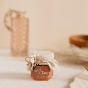 pot de confiture sable stickers terracotta cadeau personnalisé mariage