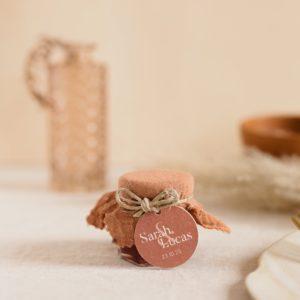 pot de confiture terracotta étiquette ronde terracotta cadeau personnalisé mariage
