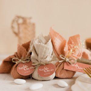 aumônière de dragées collection terracotta cadeau personnalisé mariage