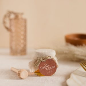pot de miel sable étiquette ronde terracotta cadeau personnalisé mariage