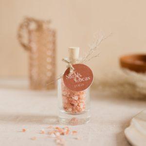 sel rose himalaya étiquette ronde terracotta cadeau personnalisé mariage