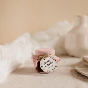 pot confiture bois de roser étiquette ronde terrazzo cadeau personnalisé mariage