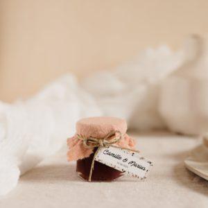 pot confiture nude étiquette rectangle terrazzo cadeau personnalisé mariage