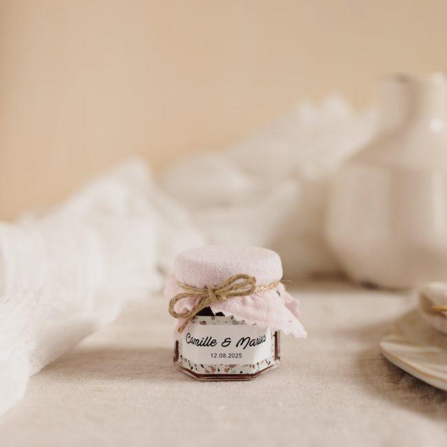pot confiture rose clair stickers terrazzo cadeau personnalisé mariage